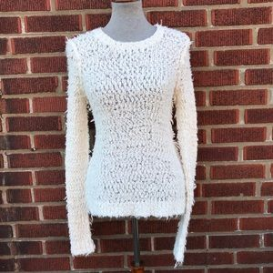 Free People Fuzzy Knit Cream Sweater Women's Small